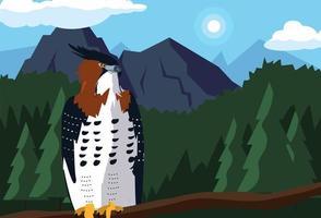 imponente halcón en la rama con paisaje vector