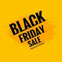Black Friday sale poster with yellow background vector
