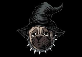 Halloween pug dog wearing witch hat