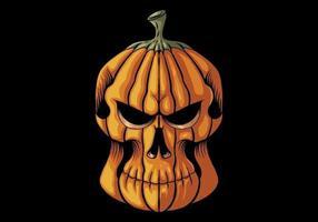 cabeza de calavera de calabaza de halloween