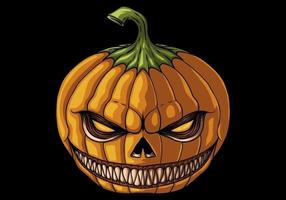 Halloween pumpkin with evil smile vector