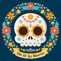ilustração floral colorida de dia de los muertos