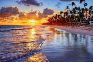 brillante amanecer en la playa del océano con palmeras foto