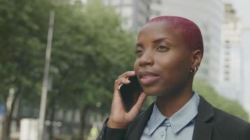 Young businesswoman on phone getting into cab
