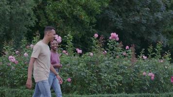 Cámara lenta de la joven pareja caminando en el parque con perro