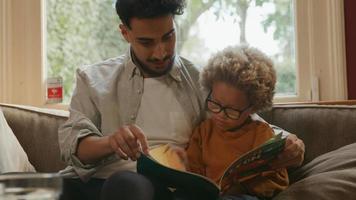 padre, libro de lectura, con, hijo, en, sofá, en casa video