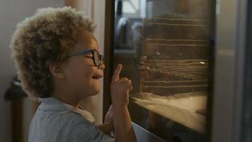 Boy waiting for homemade cookies to come out of oven