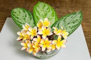 Mayflowers bouquet en una maceta de cristal sobre mesa de madera