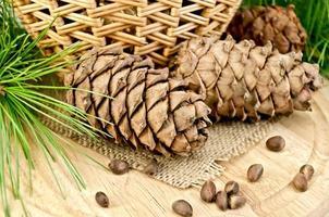 Cedar cones with a basket photo