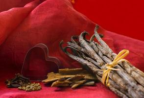 Vanilla pods spices and heart