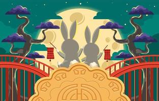 Share Your Happiness In Mid Autumn Festival vector