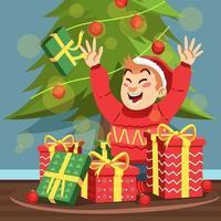 niño feliz recibiendo muchos regalos de navidad