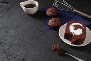 Delicious chocolate cake and cookies photo