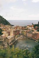 Aerial view of a beach in Vernazza