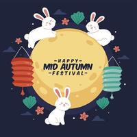 Mid-Autumn Festival Bunny Illustration vector