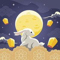 Mid Autumn Festival Rabbit Illustration vector
