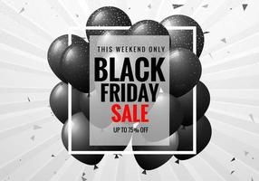 Black Friday Sale Poster with Balloons and Confetti