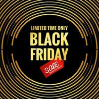 Black Friday golden circular lines background vector