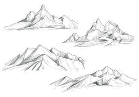 Hand Drawing Mountain Landscape Set Sketch Design vector