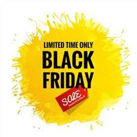 tarjeta de venta de viernes negro fondo amarillo splash