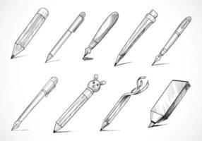 Hand Drawn Stationery Pen Sketch Set Design vector