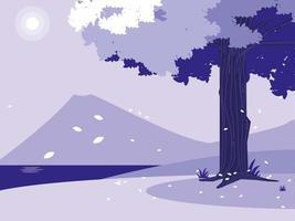 Creative landscape with tree purple scene vector