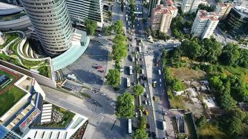 aerial shot of city traffic