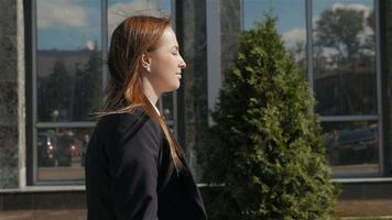 Portrait of Business Woman Walking Outdoor In City. Office Worker In Downtown. video