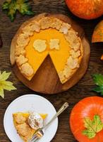 Pumpkin Pie on Thanksgiving Day feast. photo