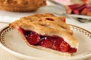 Piece of fresh strawberry and rhubarb pie