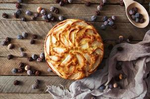 Homemade organic apple pie dessert ready to eat.