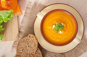 Delicious cream of pumpkin soup in a bowl