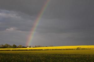 Rainbow onto house, England.