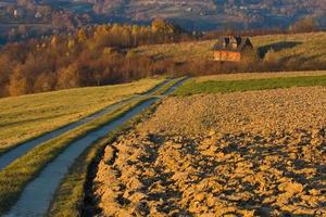 Cottage house in autumn fields