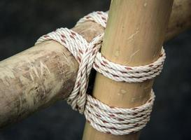Square lashing by scouts photo