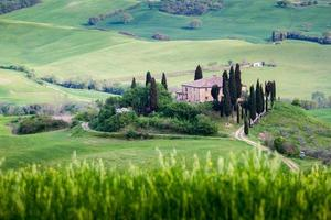 Tuscany, isolated country house, italian landscape photo