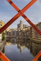 Girona cityscape with river houses reflection