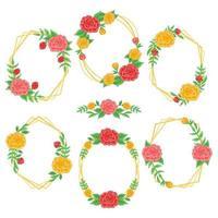 Colorful Vintage Rose Frames vector