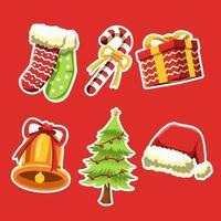 Wonderful Things On Christmas Sticker Set vector