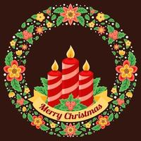 Christmas Wreath with Candle Illustration vector