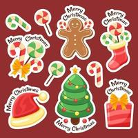 colorida colección de pegatinas de artículos navideños vector