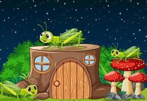 Cartoon crickets living out in the nature vector