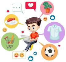 Teenage boy shopping online vector