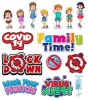 Cartoon family and coronavirus signs set vector