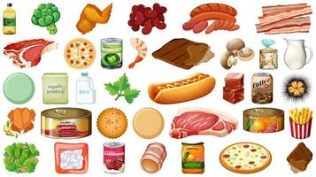 Groceries and produce food set vector