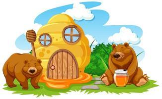 casa de panal de dibujos animados con dos osos