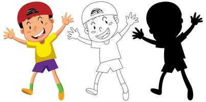 Happy boy character set vector