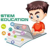 Boy studying online, stem education concept design vector