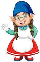 Gnome lady character waving vector