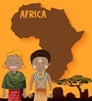 African natives and map design vector